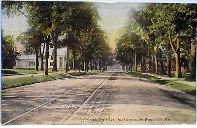 1910 Postcard College Ave Looking South,waterville Me
