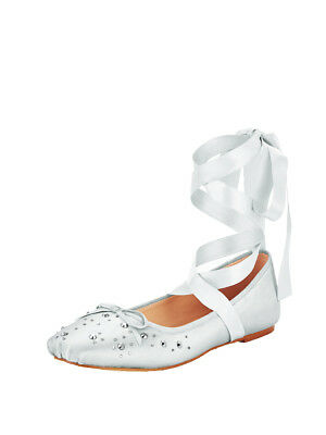 V by Very Alicia Stud Lace Tie Ballerina Shoes in Silver Size UK 8