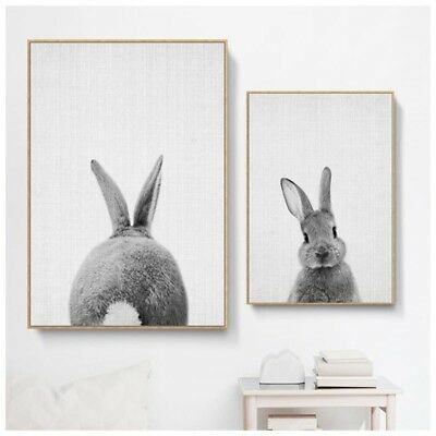 Nordic Lovely Rabbit Print Poster Wall Art Animal Canvas Painting Picture