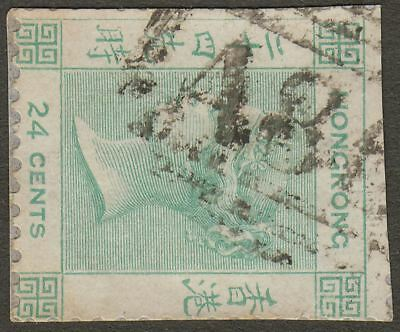 Hong Kong 1863 QV 24c Green Used with A86 Mail Boat Postmark on cut into piece