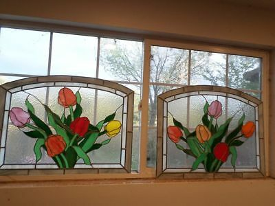 Tulips (Pair) Stained Glass Windows Vivid Colors  Approximately 23 x 30 VINTAGE