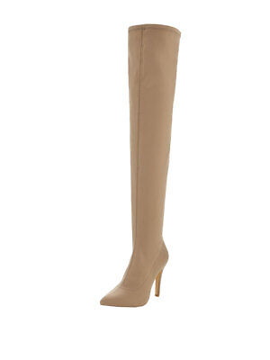 V by Very Belle Satin Over The Knee Boots In Taupe Size UK 6
