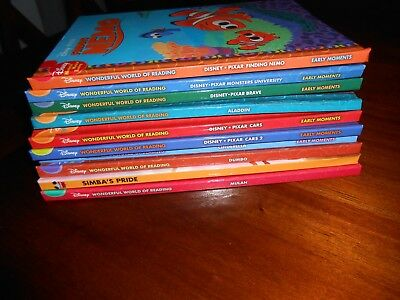 Lot of 10 Disney Wonderful World of Reading HC Books -Cinderella, Aladdin & Moe