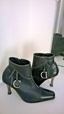 Vintage Christian Dior Black Leather Ankle Boots Chrome Heel Unworn Size 5 (38)