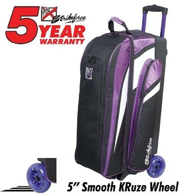 """KR Smooth Cruiser 3 Ball Roller Bowling Bag Color Purple with 5"""" Urethane Wheels"""