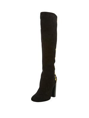 V by Very Vienna Embroidered Knee Boots in Black Size UK 7