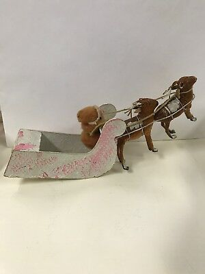 Antique Santa Claus with a cardboard sleigh Paper Mache Face