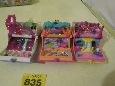 Polly Pocket Princess Palace/Sparkling Mermaid/Snowland Book Compacts Bundle