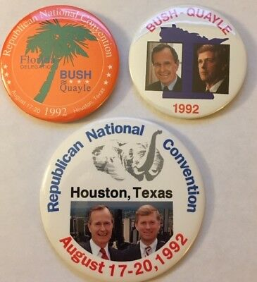 """Two 3"""" GH Bush-Dan Quayle and One 4"""" Political Campaign Pins"""