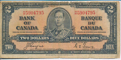 1937 Bank Of Canada $2 Note **historic Currency** Nice Collection Addition