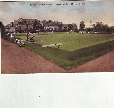 Skytop Pennsylvania Country Club Bowling Green People Hand Colored Pc Sports
