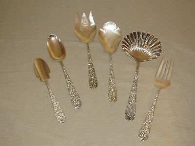 Lot of 6 RARE Jacobi Jenkins Sterling Servers -- 495 grams Solid sterling --