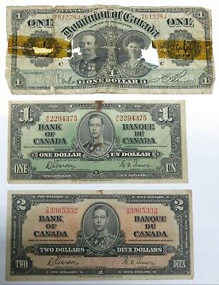 Canada Mixed Lot ~ Dominion of Canada $1, 1937 $1 Note, 1937 $2 Note