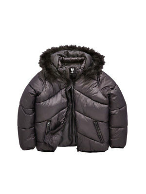 V by Very Cropped Padded Coat In Black Size 15 Years