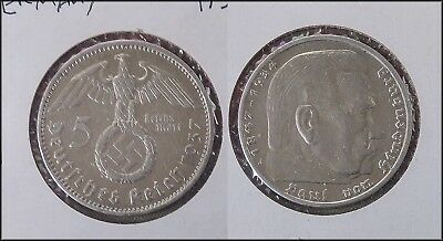 1937 A Germany SILVER 5 Mark WWII Third Reich 5 Reichsmarks
