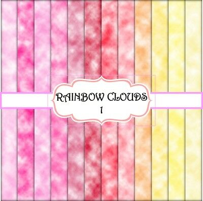 RAINBOW CLOUDS 1 SCRAPBOOK PAPER - 12 x A4 pages