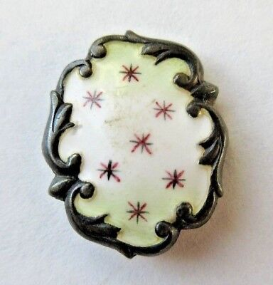 Beautiful Antique~ Vtg Sterling Silver Metal ENAMEL BUTTON w/ Scalloped Rim (G)