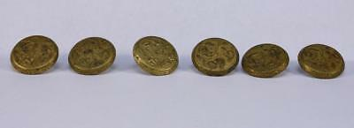 Original Civil War Era Set 6 Gilt Buttons Superior Extra Rich Confederate Woman