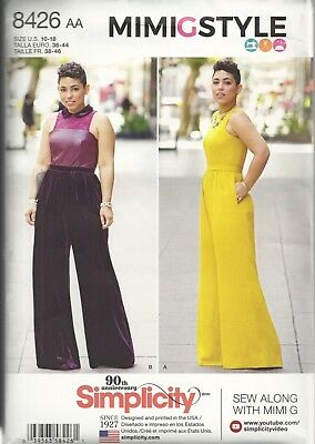 Simplicity 8426/d0758 Woman's Size 10-18 Mimi G Style Jumpsuits Sewing Pattern
