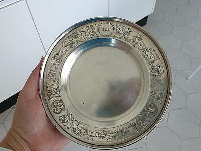 Art Deco Gorham Sterling Silver Baby Toddler Plate Caldwell CAT DOG Rabbit JWH