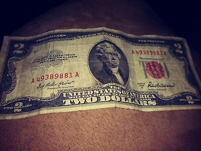 One Two Dollar $2 Bill Series 1953A *Red Seal* Old United States Notes Currency