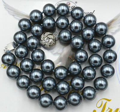"Long 25"" 8mm Dark Gray Akoya Shell Pearl Round Beads Crystal Clasp Necklace AAA"