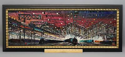 Vintage JAN CLISNI Modern French Paris Railroad Train Station Acrylic Painting