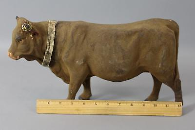 Large Antique Circa 1900s German Painted Paper Mache Cow Candy Container
