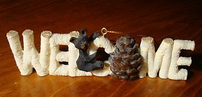 Lodge Cabin Bear Welcome Sign Ornament Figurine Faux Wood Carved Log Home Decor