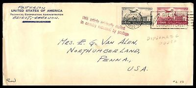 Us Technical Cooperation Admin Beirut Lebanon Pouch Mail Cover To Pa Usa