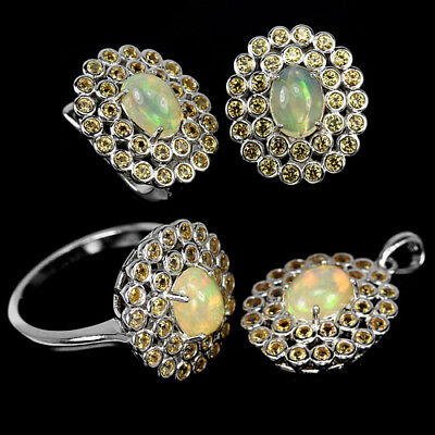 Natural Aaa Rainbow Opal Oval & Yellow Sapphire Sterling 925Silver Set Size 8.25