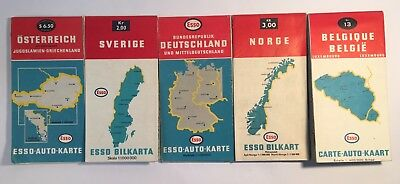 Lot Of 5) 1960s Vintage Esso Road Maps Of European Countries