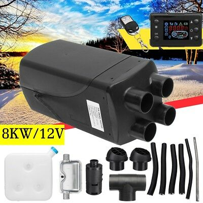 12V 8KW Air Diesel Heater LCD Monitor 4 Holes Silencer F/ Truck Boat Car