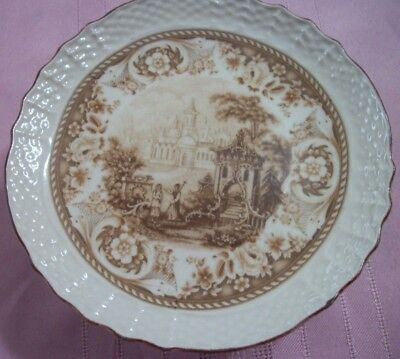 Antique Small China Footed Tray --Mark Of Crown Shield And Lions Calling Card ?