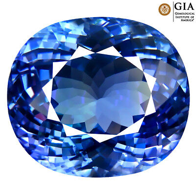 8.08 ct GIA CERTIFIED WONDERFUL OVAL CUT (12 X 11 MM) BLUISH VIOLET TANZANITE