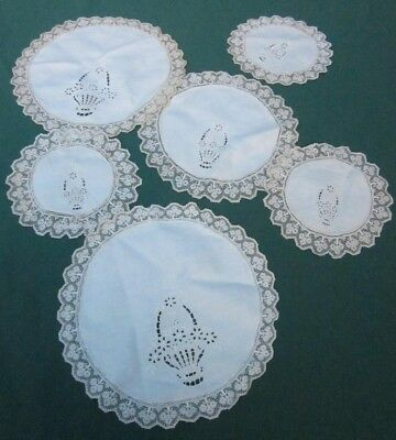 Schiffli Flower Basket Embroidery Doily Lot Of 6 Linen Tambour Mesh Net Lace