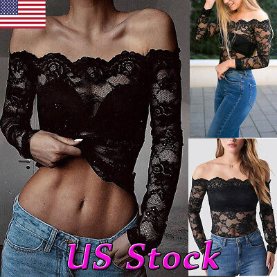 Sexy Women Lace See through Mesh Sheer Off Shoulder Crop Tops T Shirt Blouse Tee