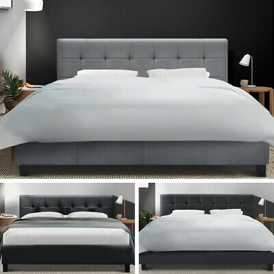 Artiss Single Double Queen Size Bed Frame Base Mattress Fabric Wooden Charcoal