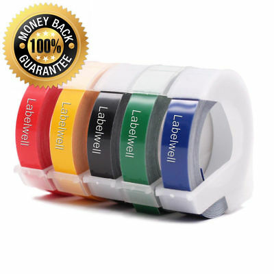 """5PACK Replacement Dymo 3D Plastic Embossing Tapes for Label Makers 3/8"""" Width"""