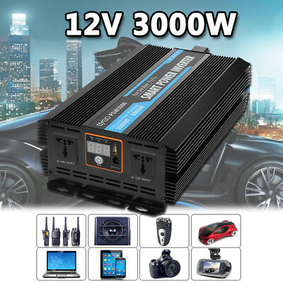 Solar Power Inverter 3000W 6000W Peak DC12V to AC 220V Pure Sine Wave Converter