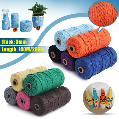 3mm 100M DIY Long Macrame Colorful Cotton Twisted Cord Rope Hand Crafts