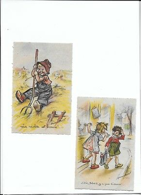 lot 2 cartes postales anciennes  illustration Germaine BOURET enfants
