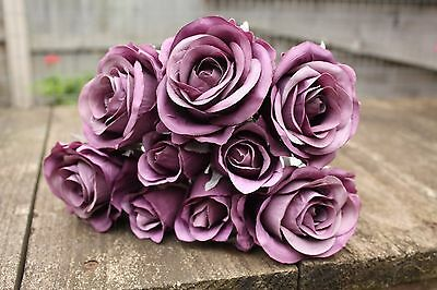 9 x VINTAGE DUSKY PURPLE PLUM SILK ROSES & ROSE BUDS TIED BUNCH / SMALL BOUQUET