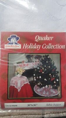Quaker Lace Snowman Lace Holiday Table Topper 36 x 36 ~ NEW