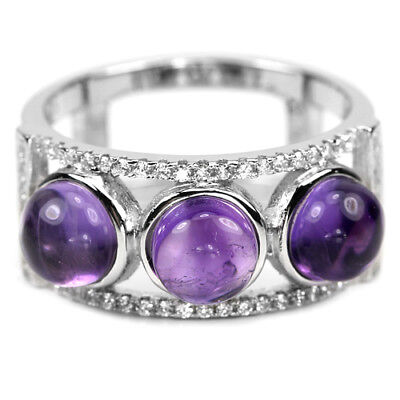 Natural Purple Amethyst Cabochon & White Cz  Sterling 925 Silver Ring Size 7.75