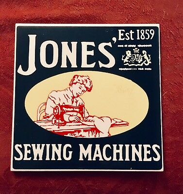 "Retro Vintage Jones' Sewing Machine Advertising Ceramic Wall Tile 6"" Inch"
