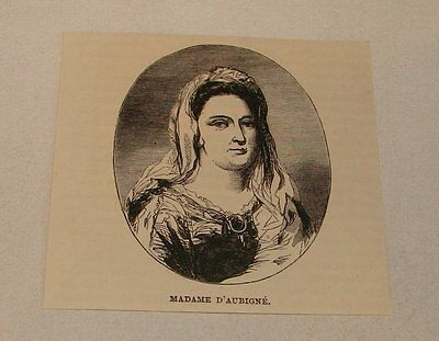 1887 magazine engraving ~ MADAME D'AUBIGNE, Wife of Paul Scarron