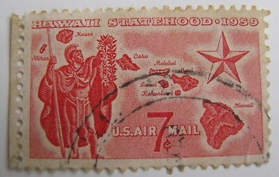Hawaii Statehood 1959 Usa Postage Stamp 7 Cent Red Fine Used
