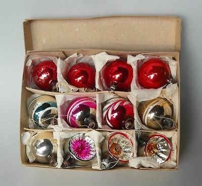 12x Bunter Mix Reflex Glaskugeln Handbemalt Christbaumschmuck