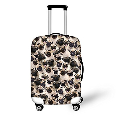 Instantarts Cute Pug Puzzle Travel Suitcase Protective Cover for 22-26 inch